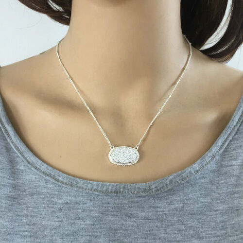 Fashion 11 couleurs laiton plaqué argent Drusy drop collier pendentif XL1734