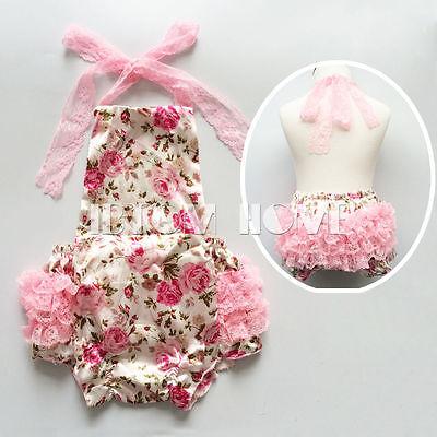 Baby Girl Lace Ruffles Backless Floral Romper Halter Sunsuit Jumpsuit Bodysuit