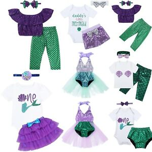 Baby-Girl-1st-Birthday-Dress-Outfits-Cake-Smash-Little-Mermaid-Princess-Clothes