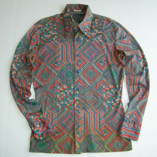 Vintage 1970s NIK-NIK Men's M NYLON DISCO SHIRT Se