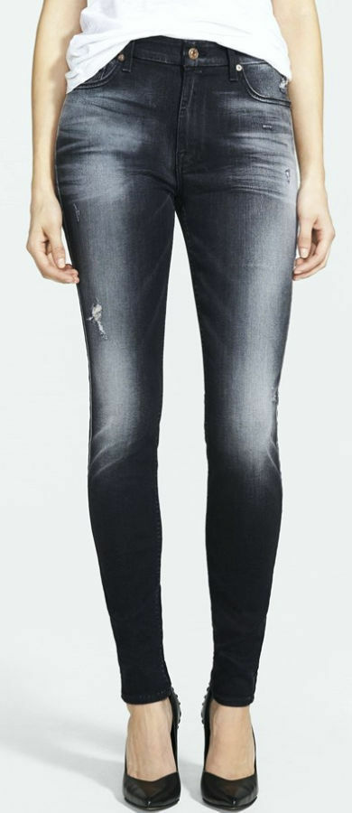 215 Neuf Avec Étiquettes 7 SEVEN FOR ALL MANKIND Jeans Größe Haute Skinny Ultimate Icy schwarz 26