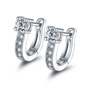 White Gold Plated Swarovski Elements Crystal Huggie-Hoop Earrings
