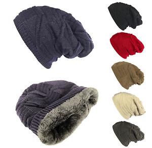 8927fb2f50f Women Men Winter Thick Baggy Slouchy Beanie Knit Oversized Hat Ski ...