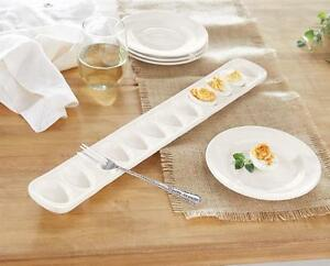 Mud-Pie-Circa-Collection-White-Ceramic-Deviled-Egg-Tray-and-Fork-Set