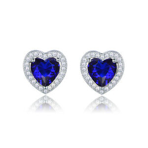 Engagement-Women-White-Gold-Filled-Heart-Tanzanite-CZ-Stud-Earrings-Jewellery
