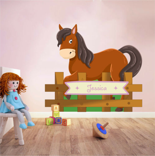 Personalised Horse Cartoon Wall Sticker Girls Bedroom Decal Equine Art Pony Ride