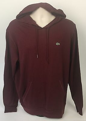 Lacoste MENS Maroon Cotton Lightweight Hoodie Size (6)  LARGE New MSRP $85