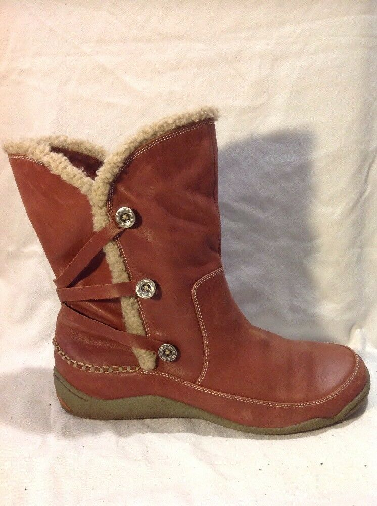 Teemix Brown Mid Calf Leather Boots Size 40