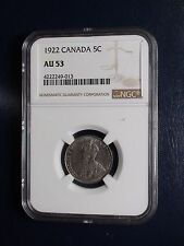 1922 Canada Nickel NGC AU53 FIRST YEAR 5C Coin PRICED TO SELL RIGHT NOW!