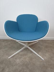 Superb Details About Mid Century Modern Kimball Splendor Office Guest Chair Blue White Swivel Shell Theyellowbook Wood Chair Design Ideas Theyellowbookinfo