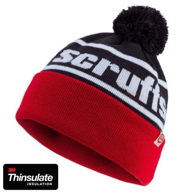 Scruffs Vintage Bobble Hat Thinsulate Red White and Black Men s ... e9579dc0f1dc