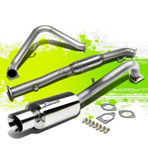 """4/""""ROLLED TIP MUFFLER PERFORMANCE CATBACK EXHAUST KIT FOR 00-05 ECLIPSE 3G 4G64"""