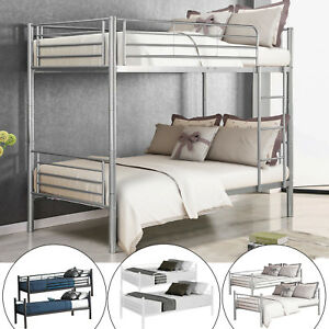 Metal-Bunk-Beds-Frame-Twin-Over-Twin-Size-Ladder-Kid-Teen-Adults-Split-2-Beds