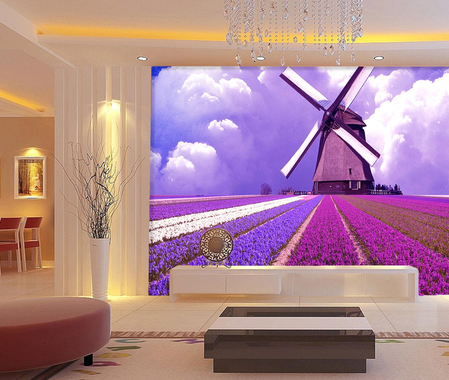 3D Windmill Lavender 8 Wall Paper Murals Wall Print Wall Wallpaper Mural AU Kyra