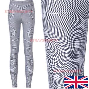 Geometric Vortex Classic Leggings 16-18 UK trippy dance rave stretchy 90s black