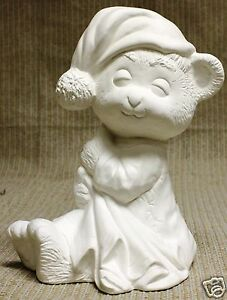 Ceramic-Bisque-Bed-Time-Bear-Duncan-Mold-12E-U-Paint-Ready-To-Paint