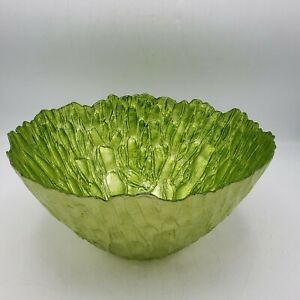 Details About Home Decor Glass Serving Bowl Green Cabbage Leaf Design Neiman Marcus 12