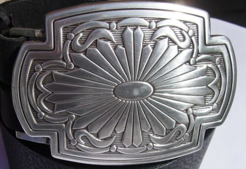 Echt Ledergürtel Büffelleder schwarz versilberte Schließe Ethno Mexico