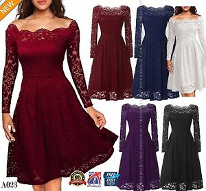 Women-Floral-Lace-Long-Sleeve-Cocktail-Prom-Gown-Party-Evening-Skater-Dress-A023