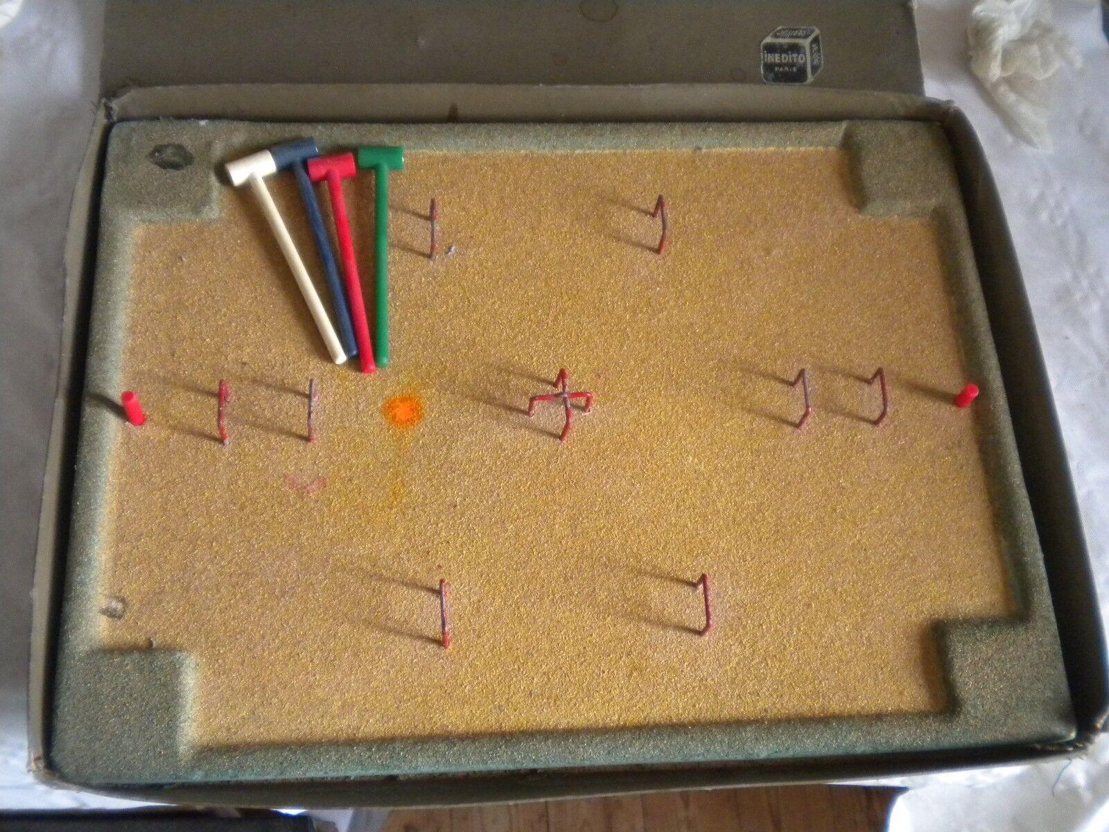 VINTAGE Gioco in miniatura Croquet tavolo  insolito 1920s Francese in Scatola PAUSINI  design unico