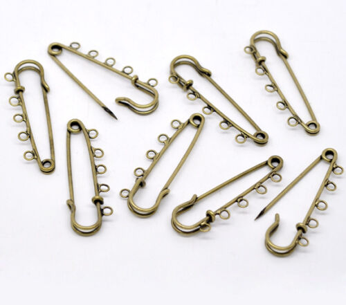 30 Bronze Tone 5 Holes Brooches Findings 5cm x 1.5cm