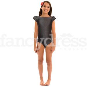 Black-Girls-Leotard-Dance-Gymnastics-Ballet-Leotards-Spanish-Ruffle-Sleeve-NEW