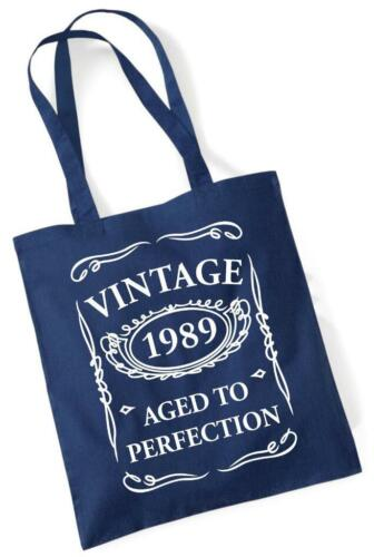 30th Birthday Gift Tote Shopping Cotton Fun Bag Vintage 1989 Aged To Perfection