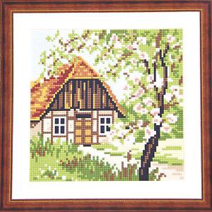 Kit-ricamo-mezzo-punto-20X20-completo-di-filo-paesaggio-casa-e-fiori-TSRIC008