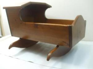"""24"""" Large Vintage Solid Wooden Rocking Cradle Crib Baby Bed Bonnet Top Hood Pine"""
