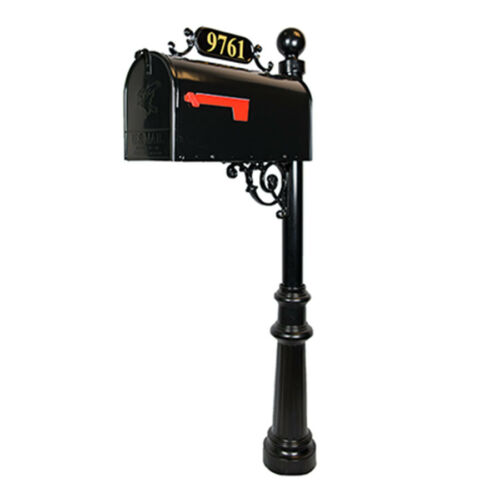 Brass Numbers Included Black Aluminum Avenues Standard Mailbox /& Post System