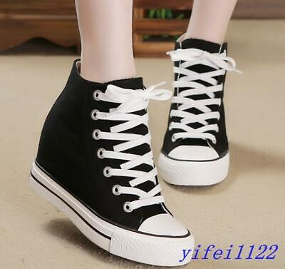 FASHION Women/'s Sneakers Athletic Lace Up Hidden Wedge High Top Casual Shoes New