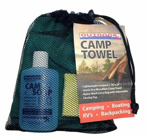 OutdooRX Camper's Kit w/4oz Biodegradable Soap/16x24 Towel/Scrub Sponge/Mesh Bag