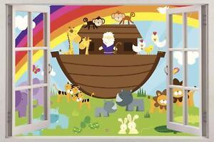 Noah S Ark Cartoon Animals 3d Window View Decal Wall