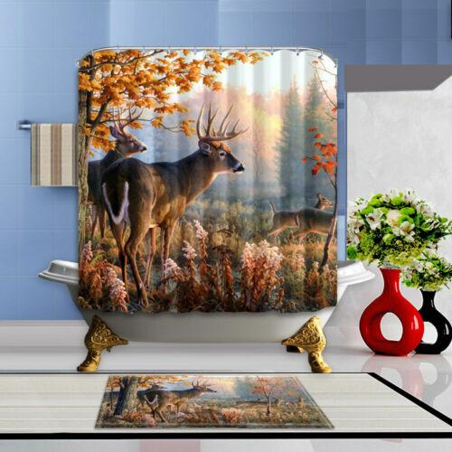 "Deer Theme Waterproof Fabric Home Decor Shower Curtain Bathroom Mat Set 72/"""