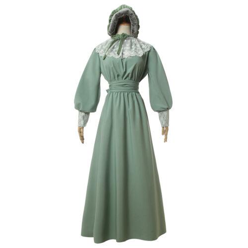 Womens American Pioneer Costume Dress Historical Modest Prairie Colonial Dress