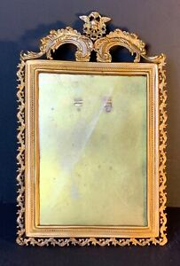 Vintage-Italian-gilt-bronze-picture-frame-with-carved-angel-1920-FREE-SHIPPING
