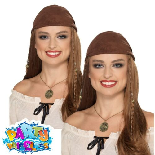 Ladies Pirate Necklace Only Bronze Medallion Buccaneer Pirates Adult Fancy Dress