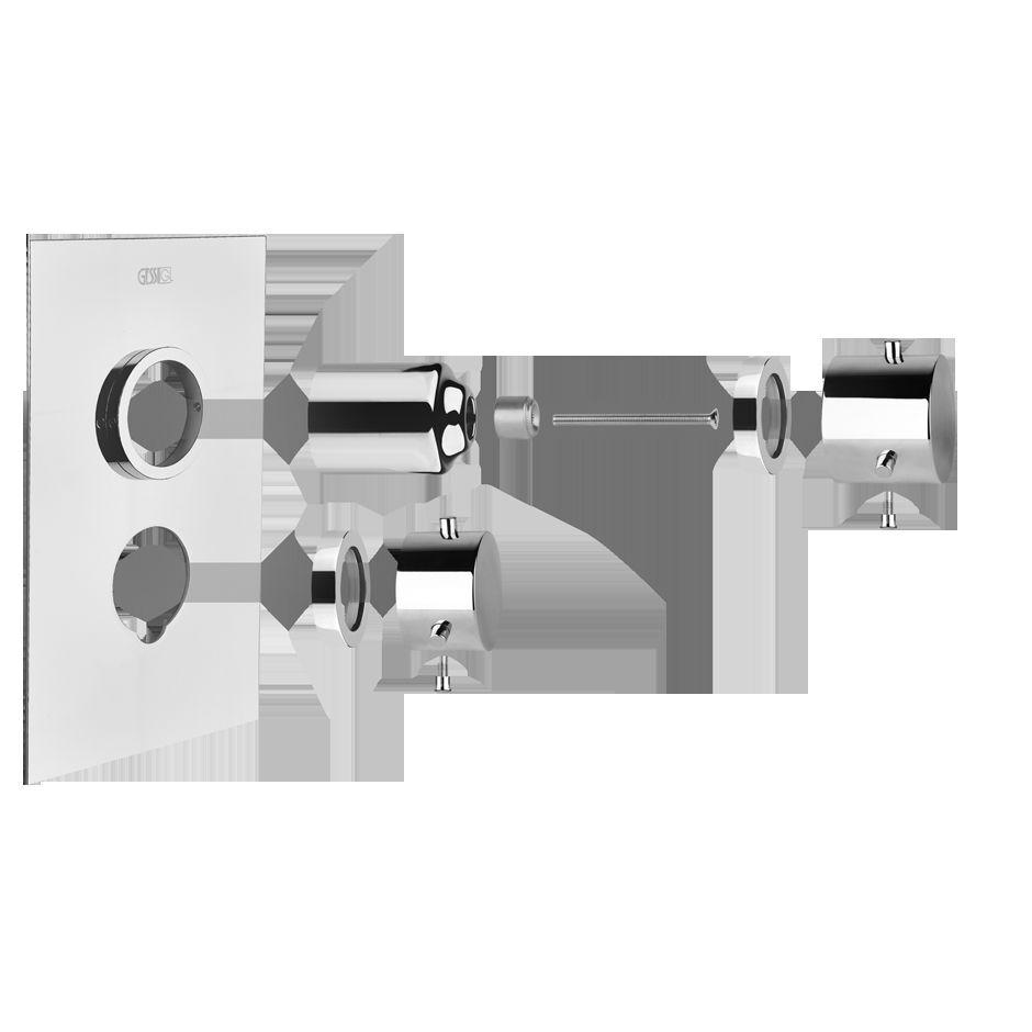 Farbset Thermostat Font1 verchromt m.2-Wege Umstellung f. 09257031Gessi13334031