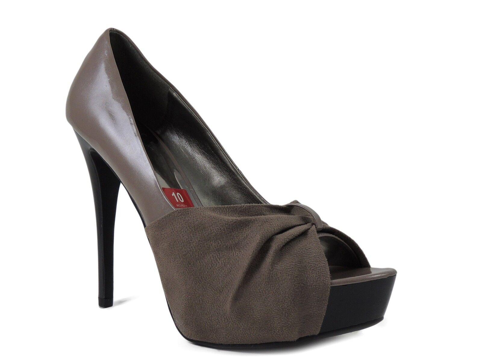Carlos Santana Women's Damon Peep-Toe Leather Pumps Taupe Size 10
