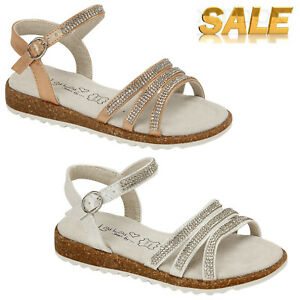 Girls Flat Sandals Kids Strappy Walking Casual Summer Size Gold /& Silver UK 10-2