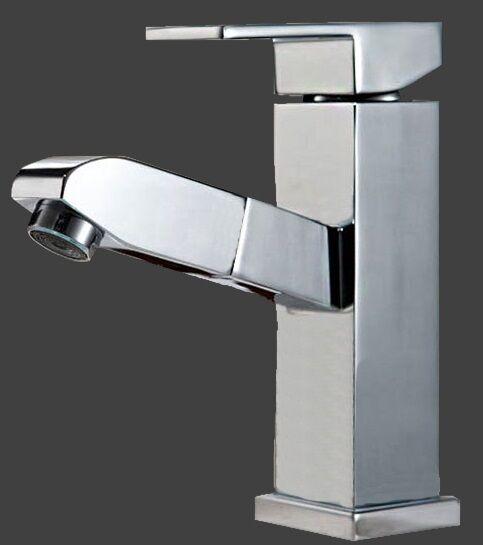Waschtischarmatur mit Brauseschlauch Kopfbrause ausziehbare Bad Armatur eckig