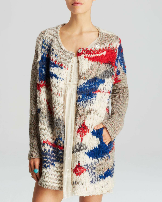 FREE PEOPLE Fireworks cardigan sweater XS Chunky knit Fair Isle