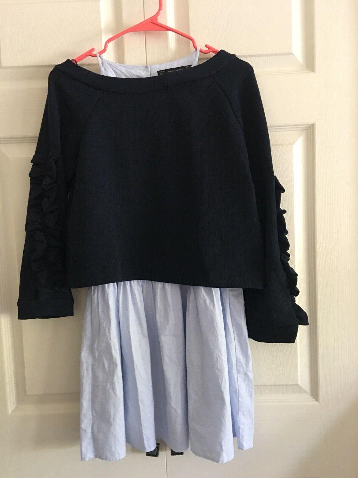NWT ZARA Navy bluee Contrast Dress Blouse 2 Pieces Size M