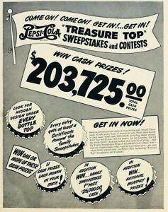 Original 1940s Print Ad Pepsi Cola Treasure Top Sweepstakes Contest