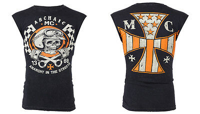 Archaic AFFLICTION Mens T-Shirt SLEEVELESS Fight Biker Gym MMA UFC S-4XL $40 b