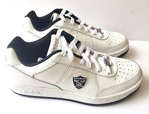 8278e1ed645f99 Image is loading Oakland-Raiders-Shoes-NFL-Reebok-White-Recline-Mens-