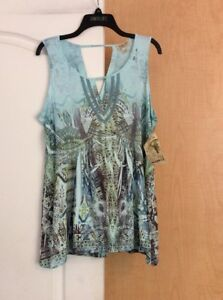 New-One-World-Printed-Lace-light-Blue-multiWomen-Top-Plus-1X-runs-Small