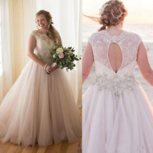 Details about Vintage Plus Size Lace Wedding Dresses A Line Sleeveless  Bridal Gowns Beading