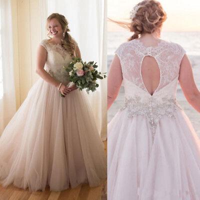 Plus Size Vintage Lace Wedding Dresses A Line Sleeveless Bridal Gowns  Beading | eBay