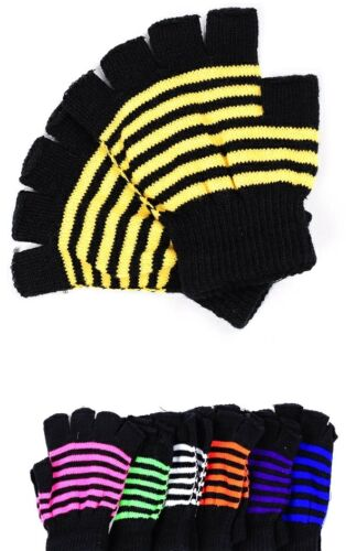 Neon Stripe Fingerless Acrylic Sweater Knit Gloves//Hand Warmers *8 Colors* OS